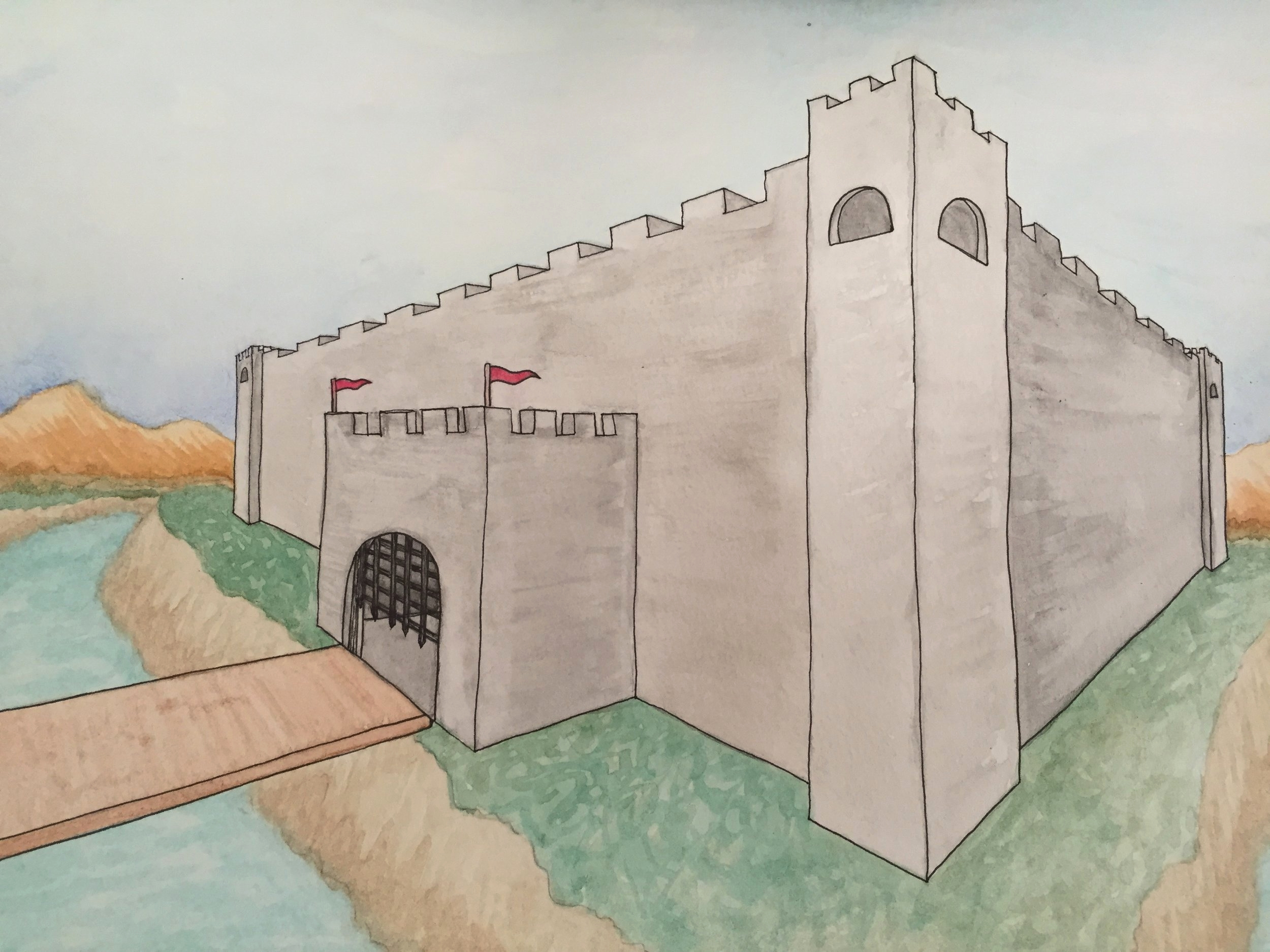 Perspective drawing of a fort from a thematic block on Medieval History