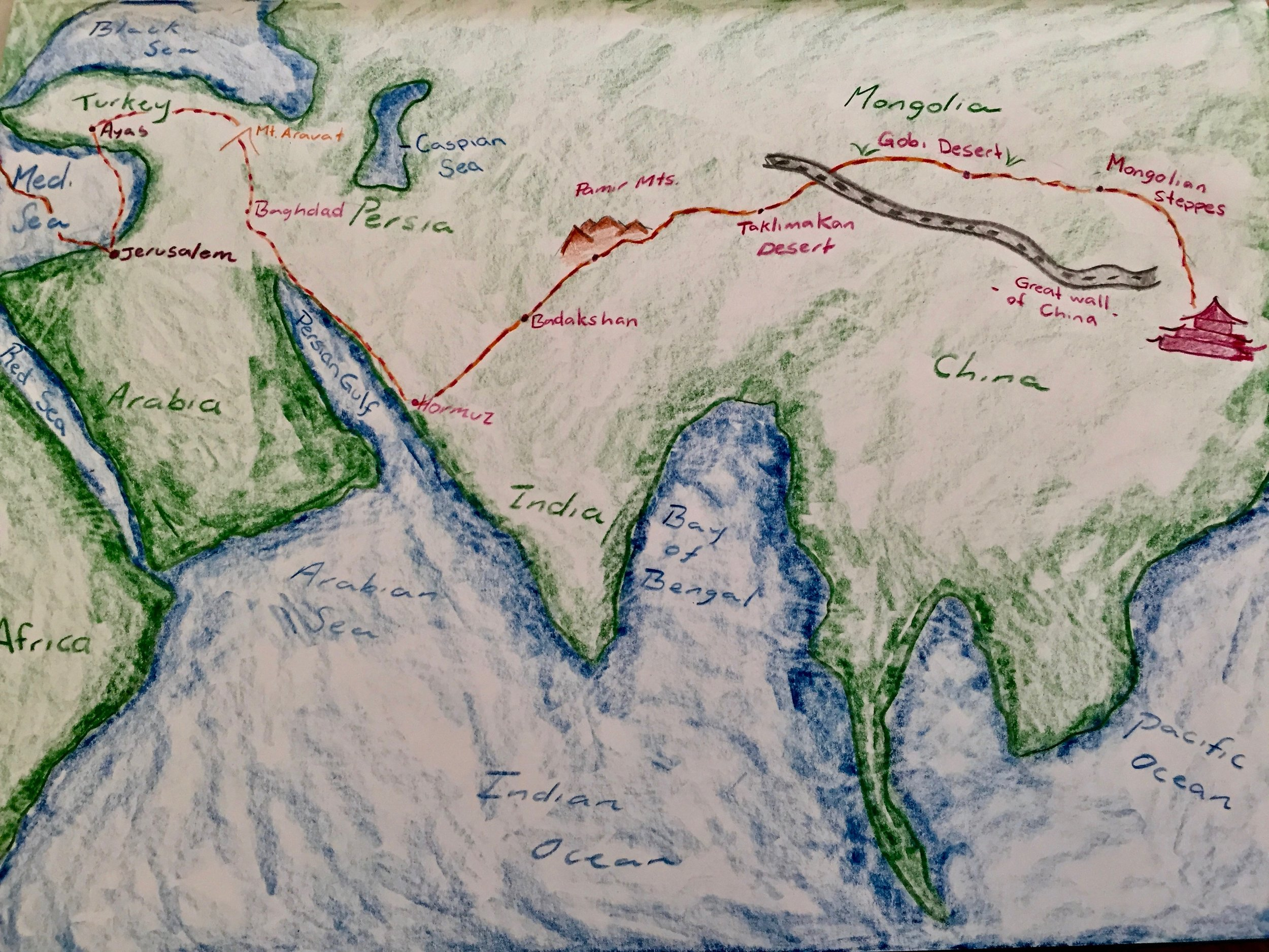 A map of the Silk Road, created during an Asian History block