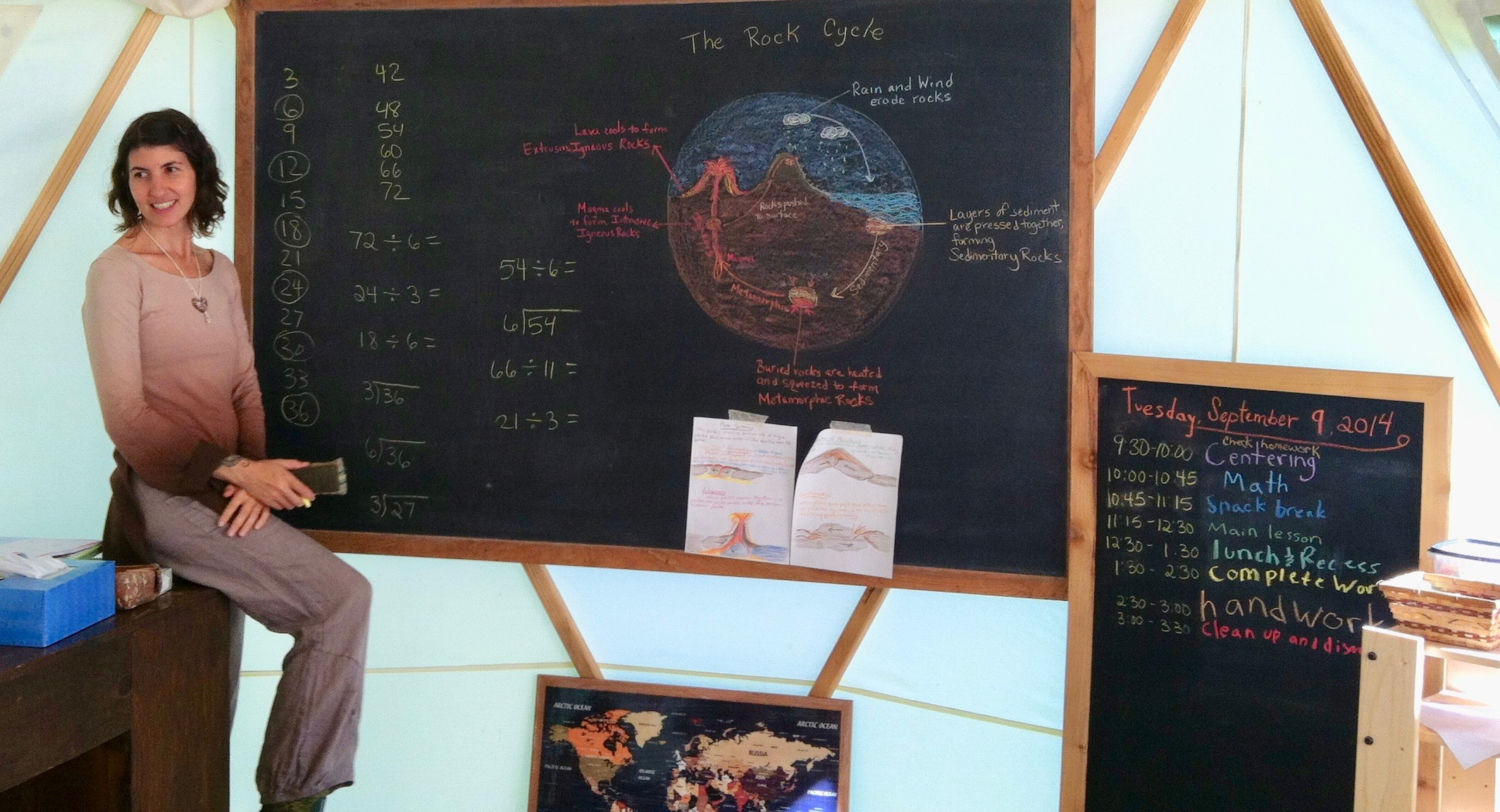 A thematic lesson on the rock cycle, presented as part of a geology block.