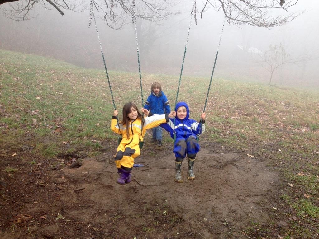 Swinging on a rainy day