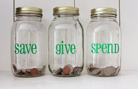 Save, Give, Spend Jars. Image: Etsy Shop  LittleAcornsByRo
