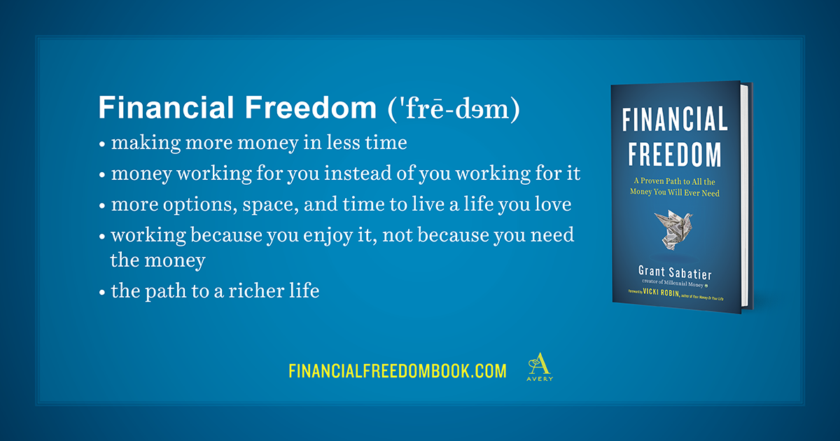 Definition of Financial Freedom by Grant Sabatier of Millennial Money