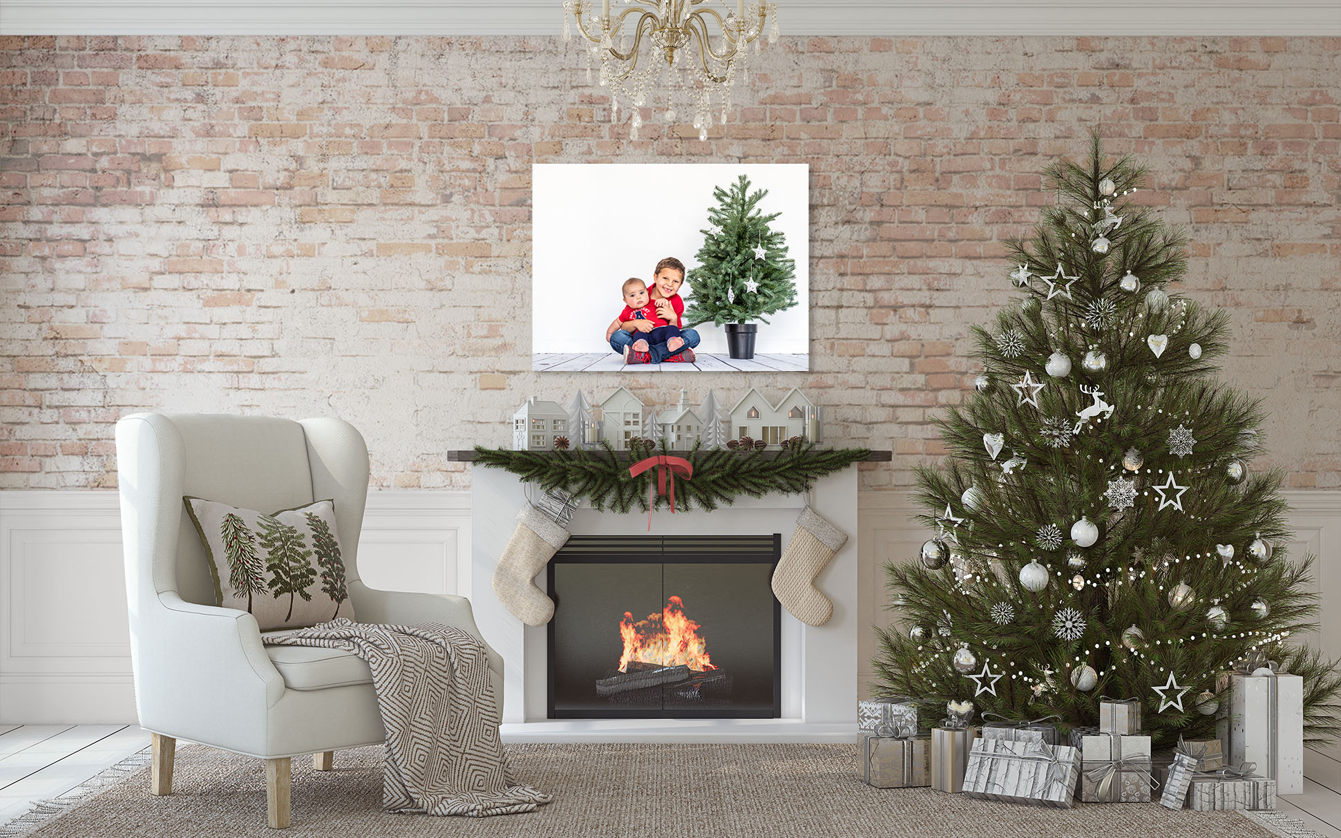 Decorate your home with holiday portraits of your family.