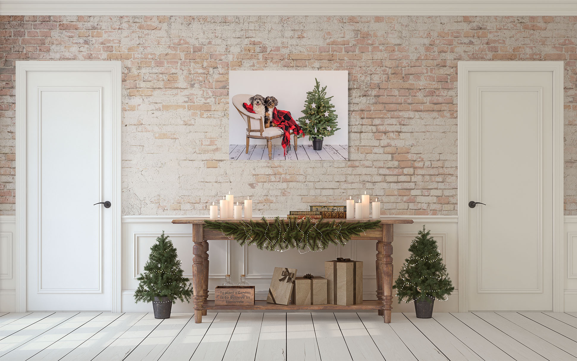 Decorate a guest room or even your master bedroom with a holiday portrait.