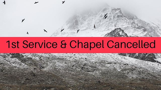 Hey Church Fam! 1st service and Chapel will be cancelled tomorrow, January 20, 2019. •⠀⠀⠀⠀⠀⠀⠀⠀⠀ We hope you'll join us for either the 9:45 or 11:00 service, but of course, do what is best and safest for you family. You can catch us on our livestream if you choose to stay home. •⠀⠀⠀⠀⠀⠀⠀⠀⠀ #hccrobinson