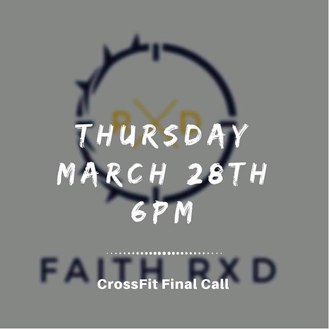 Hey church fam! Our friends at @crossfitfinalcall are hosting another FAITH RXD tomorrow at 6:00. This is an opportunity to exercise your body and your faith while building community among other believers in our community. Anyone is welcome. •  Pro-tip: Invite a friend who doesn't know Jesus. Attending something like this may be less intimidating than church. •  #hccrobinson #crossfitfinalcall #faithrxd #wereach