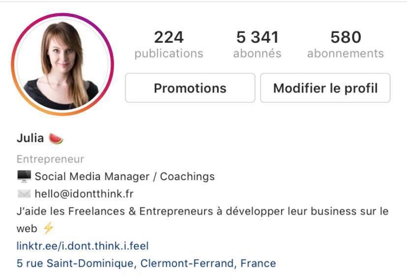 Biographie de mon  propre compte Instagram .
