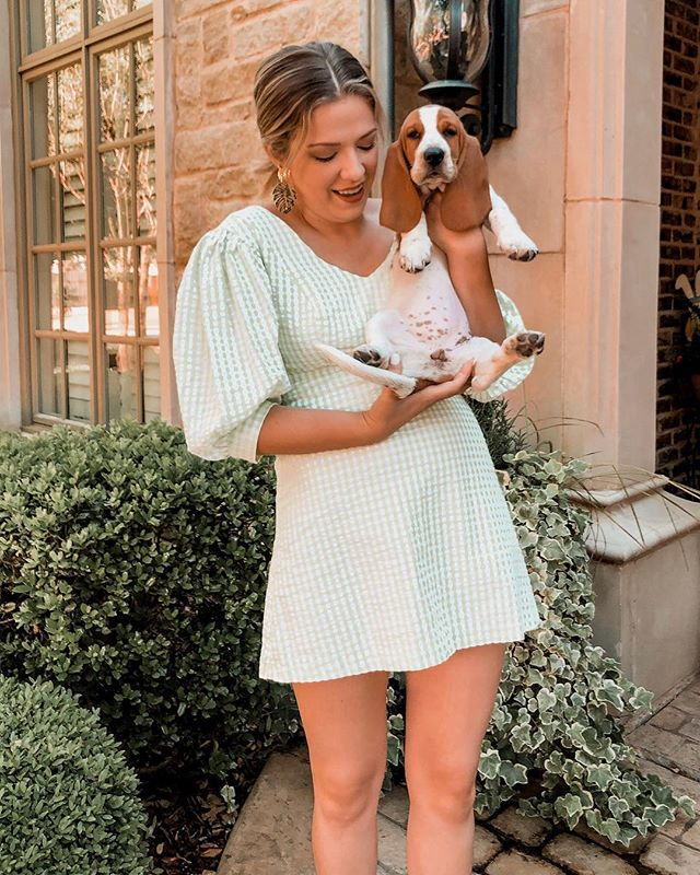 puff sleeves + puppies ✖️ this little number is currently 30% off and perfect for springtime #liketkit #LTKunder50 #LTKsalealert @liketoknow.it http://liketk.it/2ByTK