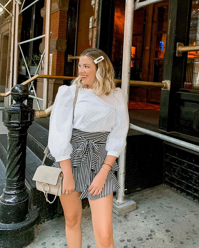 pearls, puff sleeves, and stripes, oh my !