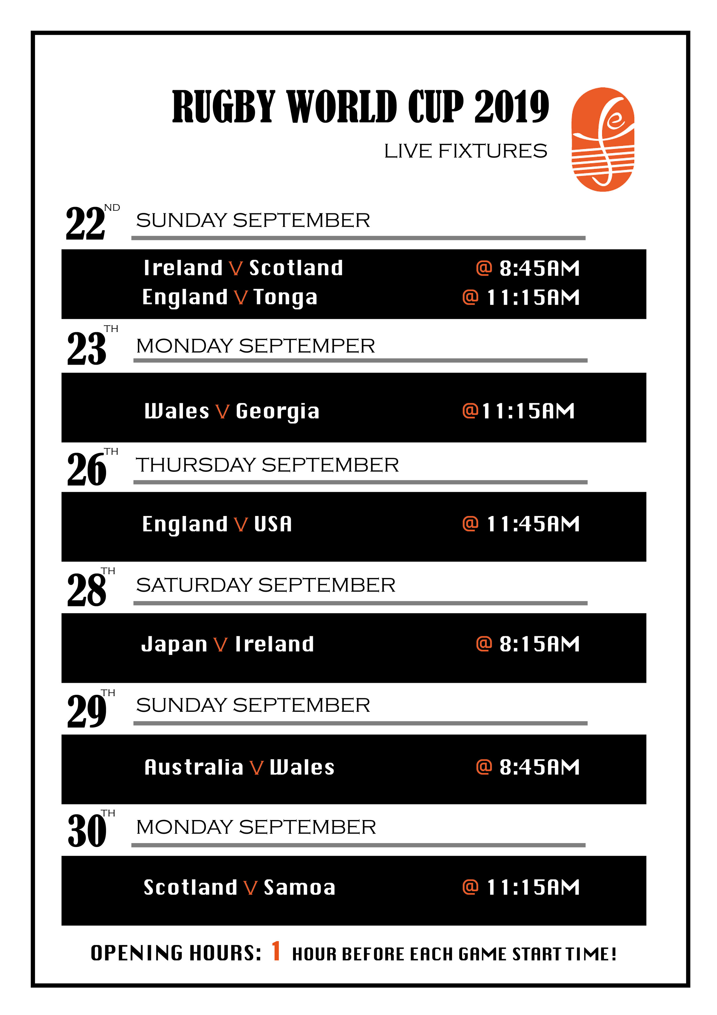 ALL HOME NATIONS & SELECTED OTHERS…  SHOWN LIVE HERE ON THE BIG SCREEN!