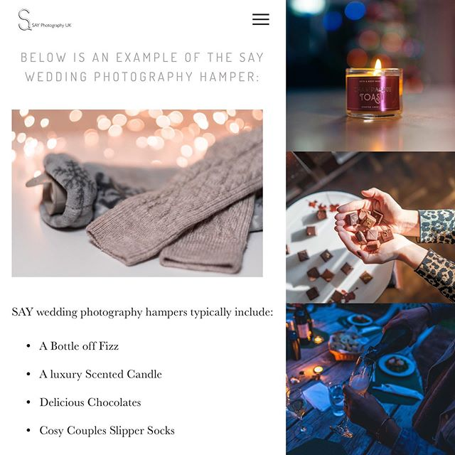 Have you heard about the SAY Photography UK wedding hamper? As standard with all wedding photography. Your wedding day is special, so here at SAY we like to make sure the wedding buzz continues way past the big day. The hamper has been designed to create a romantic chilled evening for the both of you. Wedding images can run into hundreds of images, so it's a good idea to plan an evening to go through them and just enjoy reliving it all; it can also be quite emotional seeing images, especially of the ceremony and speeches.  The hamper includes: - Bottle of Fizz - Luxury Chocolates - Beautiful Scented Candle - Cosy Couples Socks  The deposit is: £120, after which Photography is charged at only £60 per hour and all of the above is supplied. Typically a 6 hour day will cost: £120 deposit + £360 of photography = £480 all in.  If you require more, add ons include: - Thank you cards - Photo booth - Luxury Album  And more... With all bookings made this summer, I am including for free, the wedding photobook (normally £120). Please don't hesitate to contact me if you have any questions. Always happy to help and navigate you through the planning.  #weddinginspo #weddingphotography #weddingphotographer #weddinghampers #weddingphotographyhamper #sayphotographyuk #bathwedding #bathweddingphotographer #bathweddingphotography #bristolweddingphotographer #wiltshireweddingphotographer #gloucestershireweddingphotographer #southwestweddingphotographer #brideandgroom