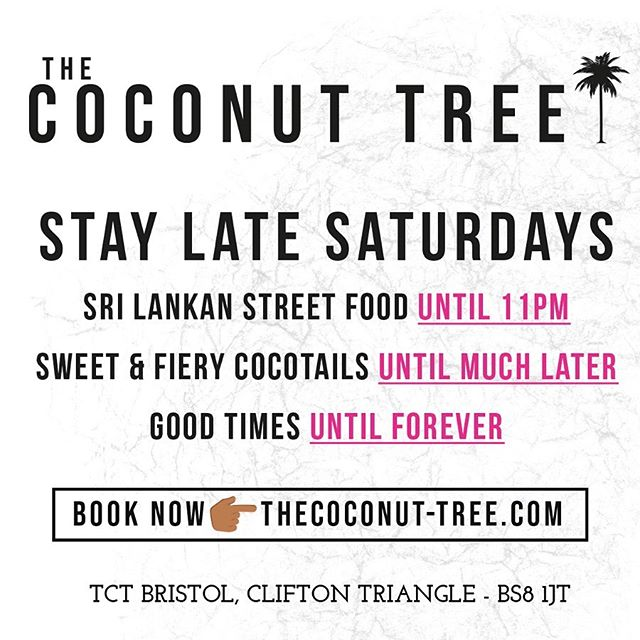 Big TCT Newsflash!!! 💥💥💥Introducing 'STAY LATE SATURDAYS' kicking off at Clifton Triangle this Saturday! Street Food served till 11pm and Cocotails till extremely late!! 🙌🏽 TCT Clifton Triangle is where it's at for late night fun in Bristol!! 🌟🌴🌟🌴🌟 . . . #staylatesaturdays #sls #cliftontriangle #latenightantics #latenightparty #bristolnightlife #summerinbristol #staylate #latenights #destinationtct #saturdaynight #roundupthecrew #visitbristol #whereitsat