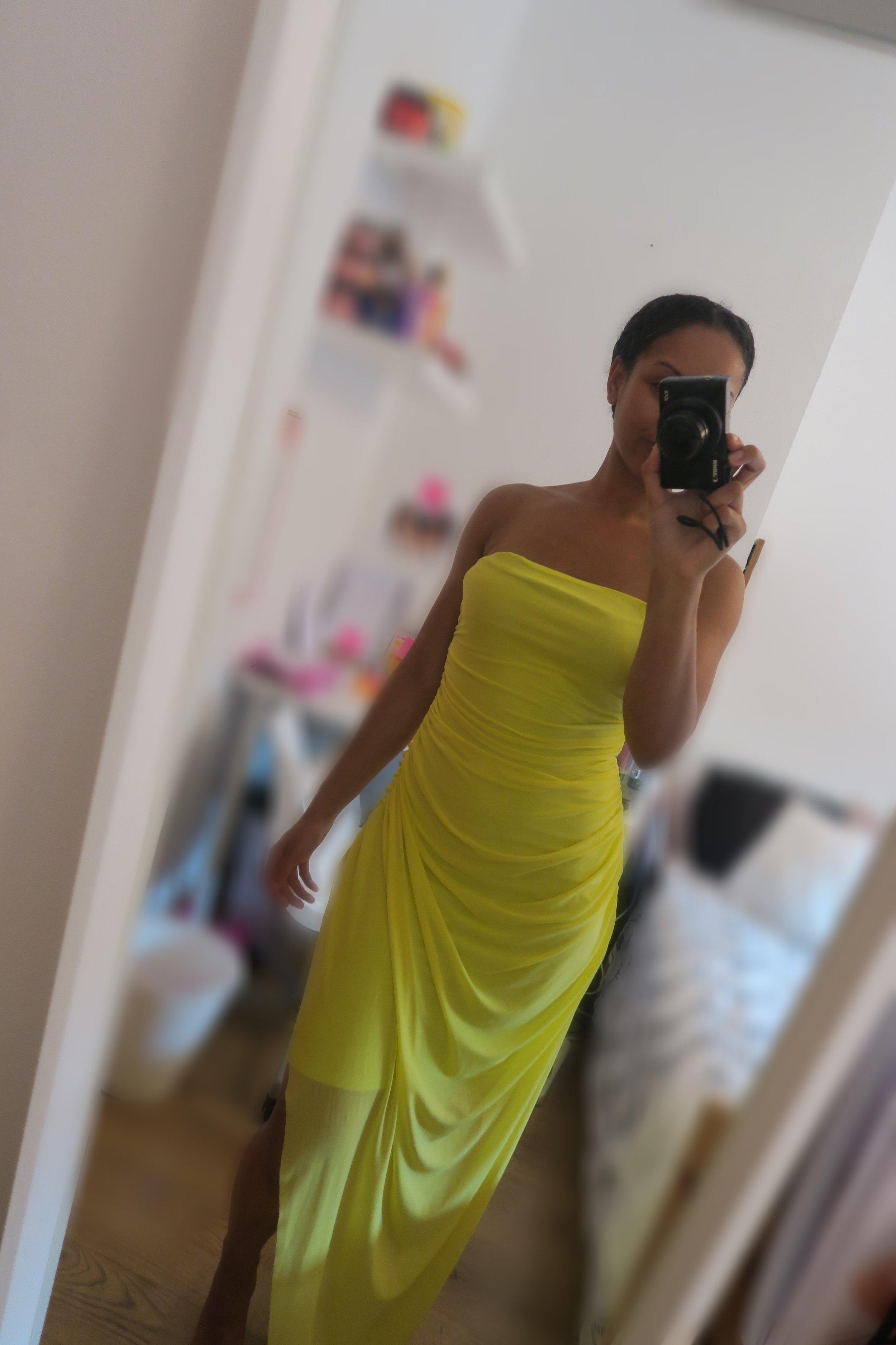 femme luxe yellow long dress
