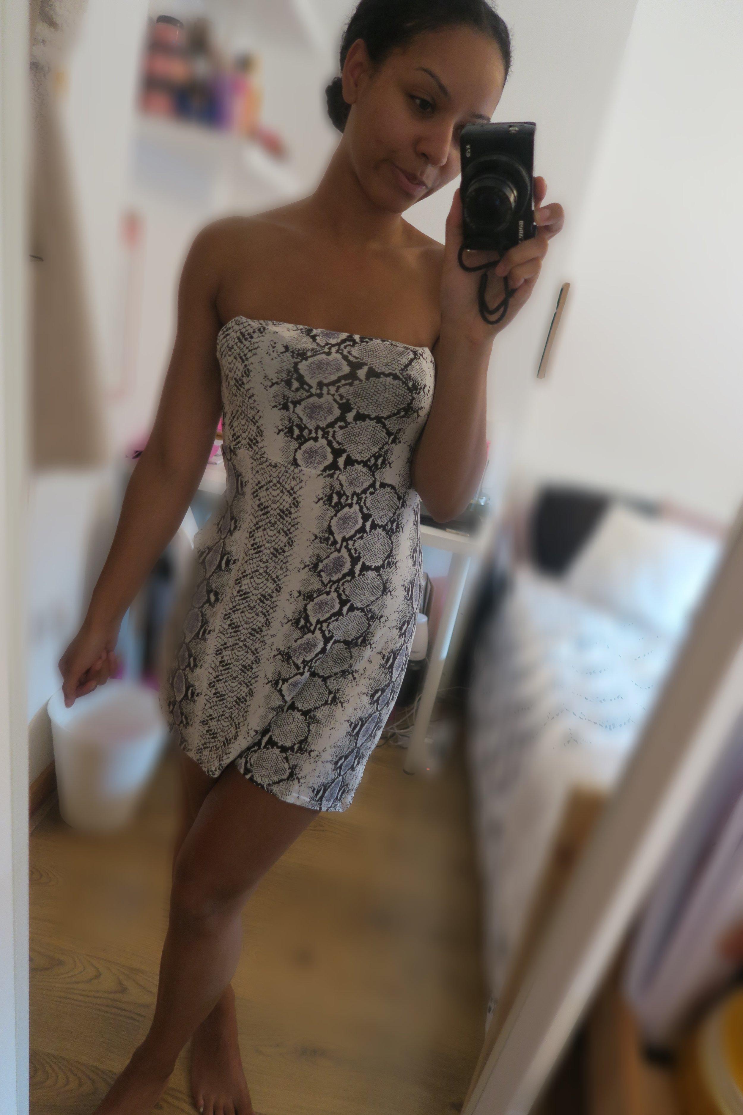 femmeluxe snake skin bodycon slit dress