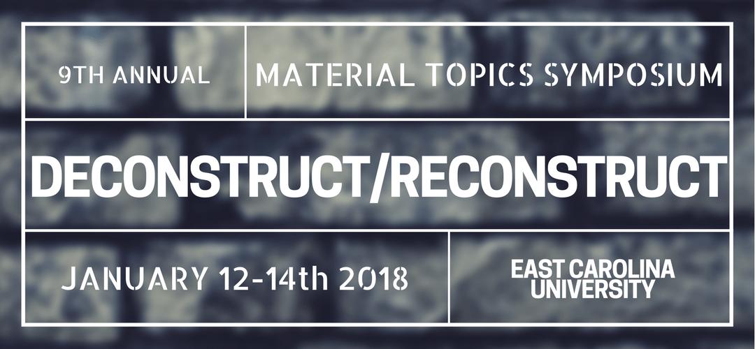 Recent Travels:2018 ECU Material Topics Symposium - Jenkins Art Center, East 5th Street, Greenville, NC 27858