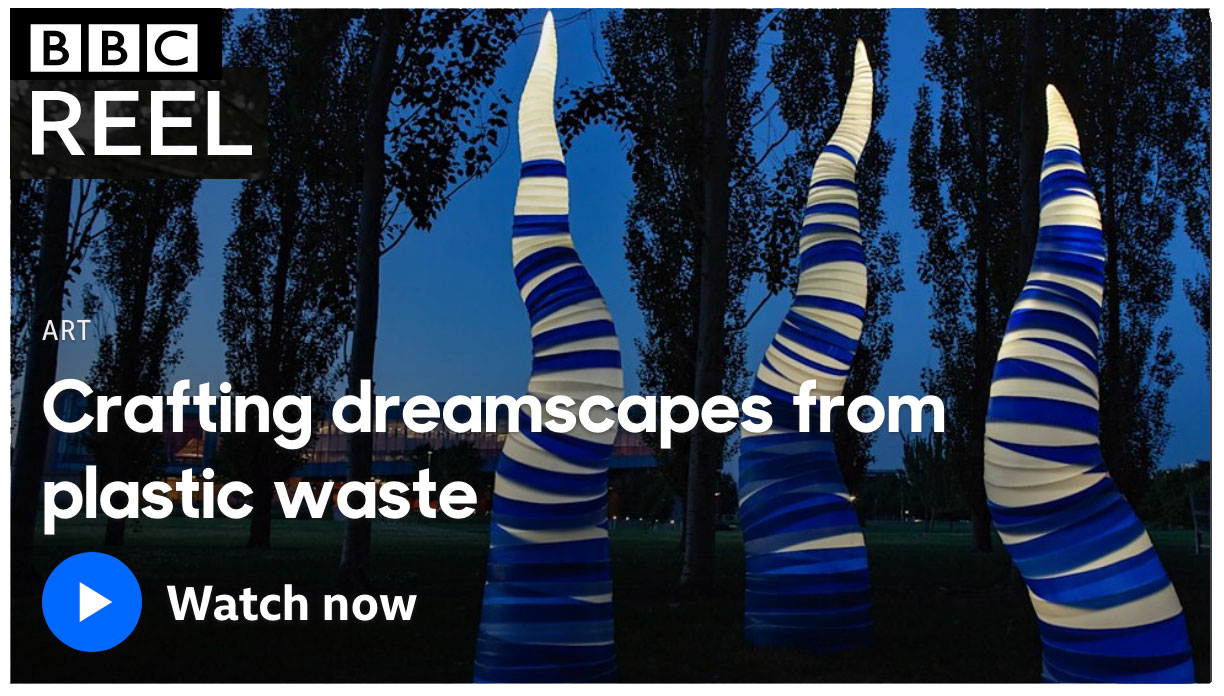 """BBC Culture Reel Feature: """"Artist Aurora Robson crafts her stunning dreamscapes from rubbish to get people talking about the world's plastic pollution nightmare.""""  Link through image or click here."""