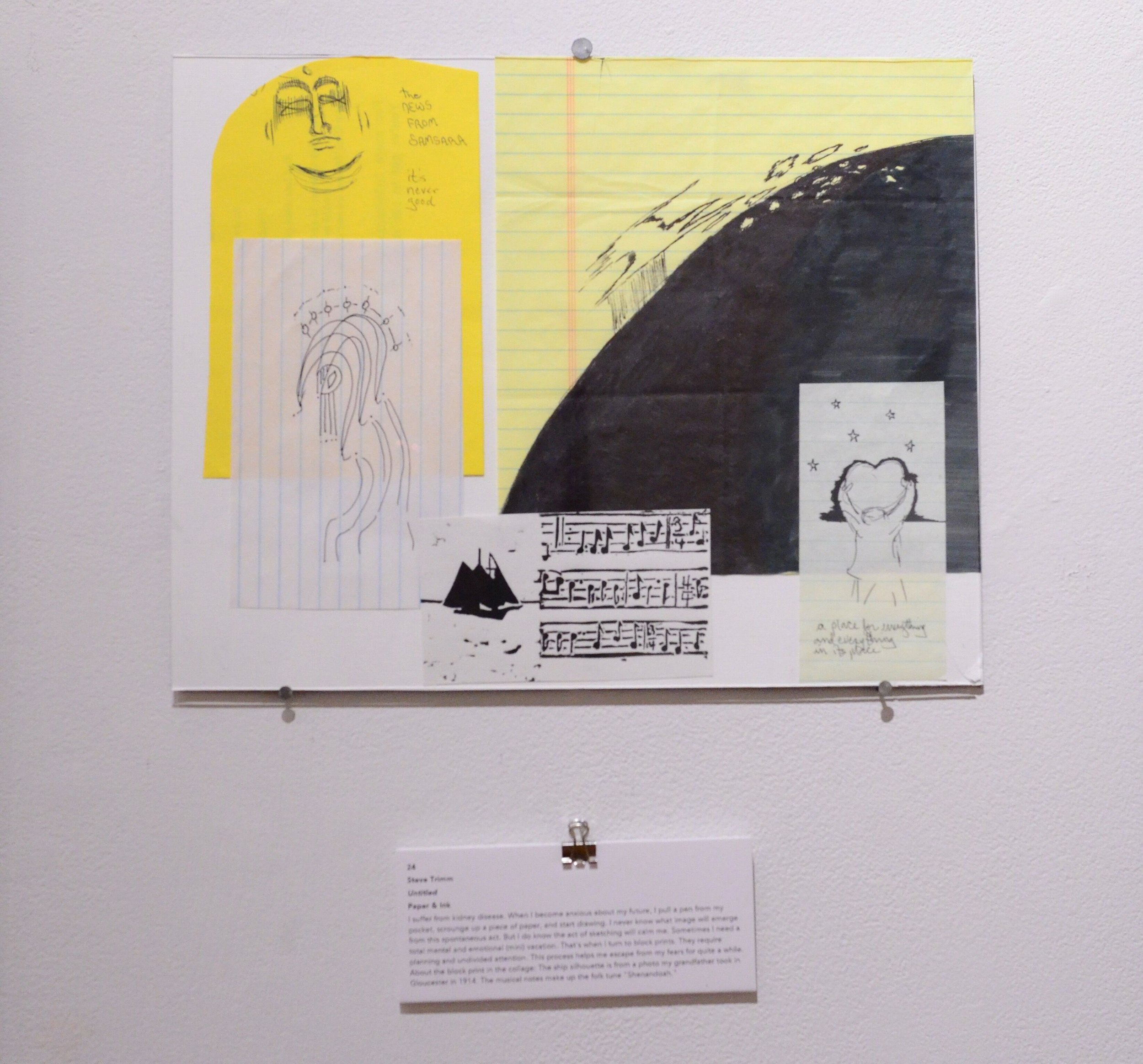Untitled by Steve Trimm. Paper and Ink Medium. White, yellow, and black background with a collage of sketches including faces, music notes and ships. Caregiver and serious illness.