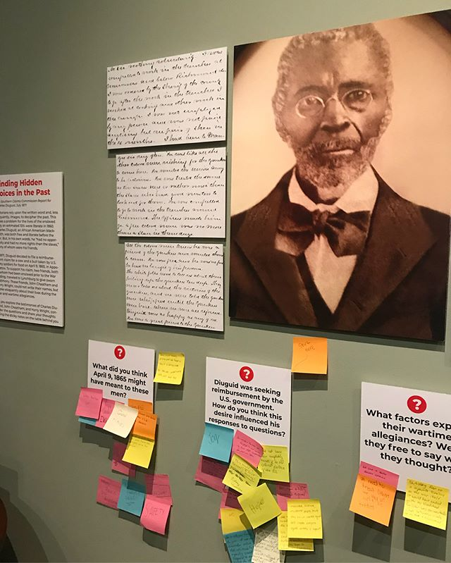 Have you visited our Appomattox location recently? Our temporary exhibit was made by students at @university.of.lynchburg and is getting some great responses from this interactive section. Visit and add your voice! #museumvisit #yoursupportatwork