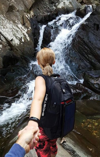 I had a super fun time yesterday hiking with @cody.legge and my new water-resistant solar backpack from @ghostek_products 🌲🌊 I'm trying to get the most out of the outdoors while the weather is still warm 😄 #Ghostek #NGRsolar#livewirelessly #hike #hiking #waterfall#healthy #fit #fitness #couplegoals -