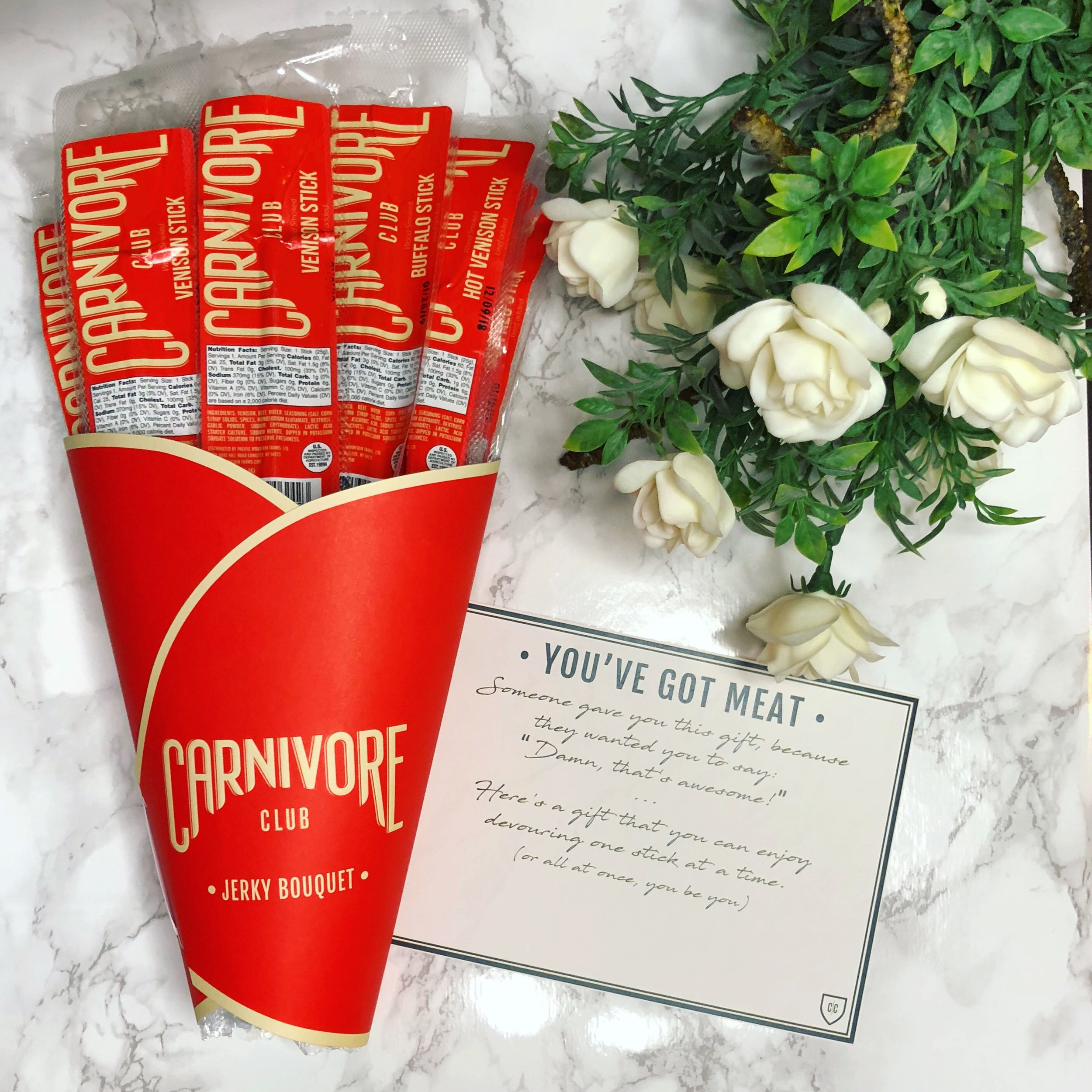 Thank you @thecarnivoreclub for the early Valentine's Day present 😍😋 Send a bouquet of meat to your love- use code HER15 for 15% off! #carnivoreclub#jerkybouquet #ambcollab #ccvdayamb -