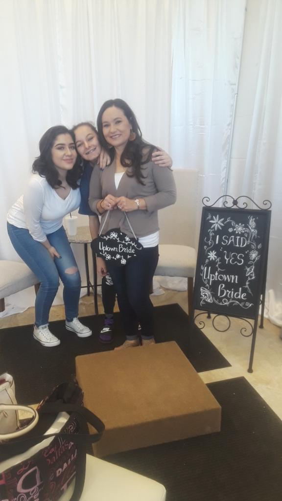 family and friends at bridal salon