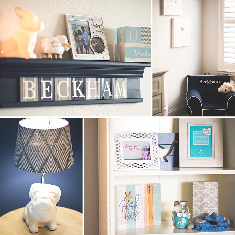 Beckham's Nursery combines a masculine mix of blue and grey color palettes.