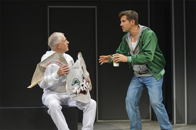 Danny Scheie (left, Ghost) and Michael Goorjian (Clovis) in the world premiere of 'Imaginary Comforts, or The Story of the Ghost of the Dead Rabbit' at Berkeley Rep. Photo: Kevin Berne