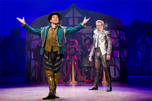 Rob McClure as Nigel Bottom (l), and Adam Pascal as Shakespeare and the cast of the Something Rotten! Photo: Jeremy Daniel