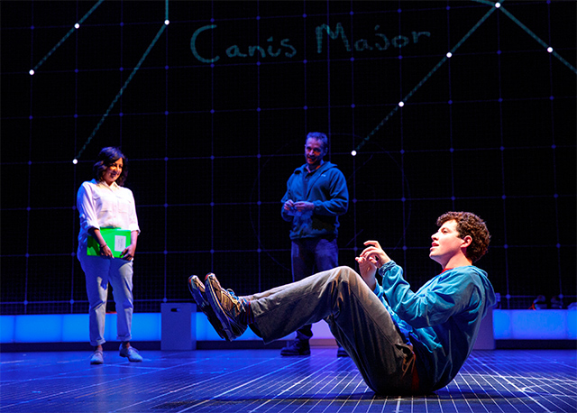 Maria Elena Ramirez as Siobhan, Gene Gillette as Ed, and Adam Langdon as Christopher Boone in The Curious Incident of the Dog in the Night-Time. Photo: Joan Marcus