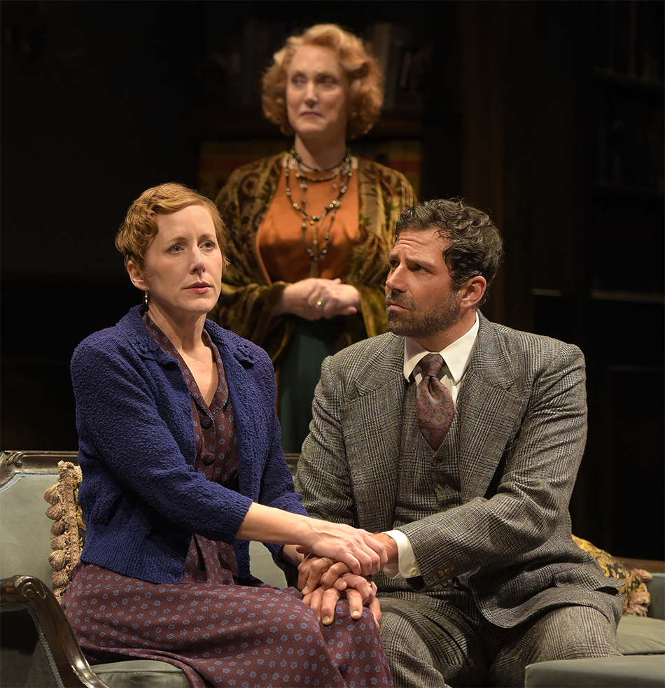 (l to r) Sarah Agnew (Sara Muller), Caitlin O'Connell (Fanny Farrelly), and Elijah Alexander (Kurt Muller) in Lillian Hellman's 'Watch on the Rhine' at Berkeley Rep. Photo: Kevin Berne
