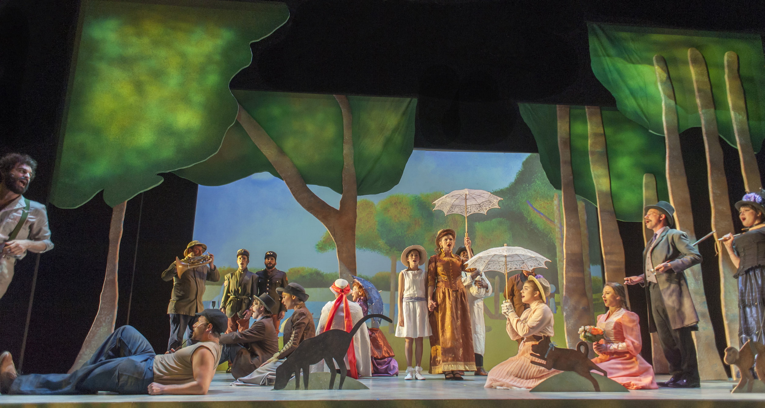 The cast of Sunday in the Park With George at SF Playhouse, with John Bambery as George at the far left and Nanci Zoppi as Dot at the far right.
