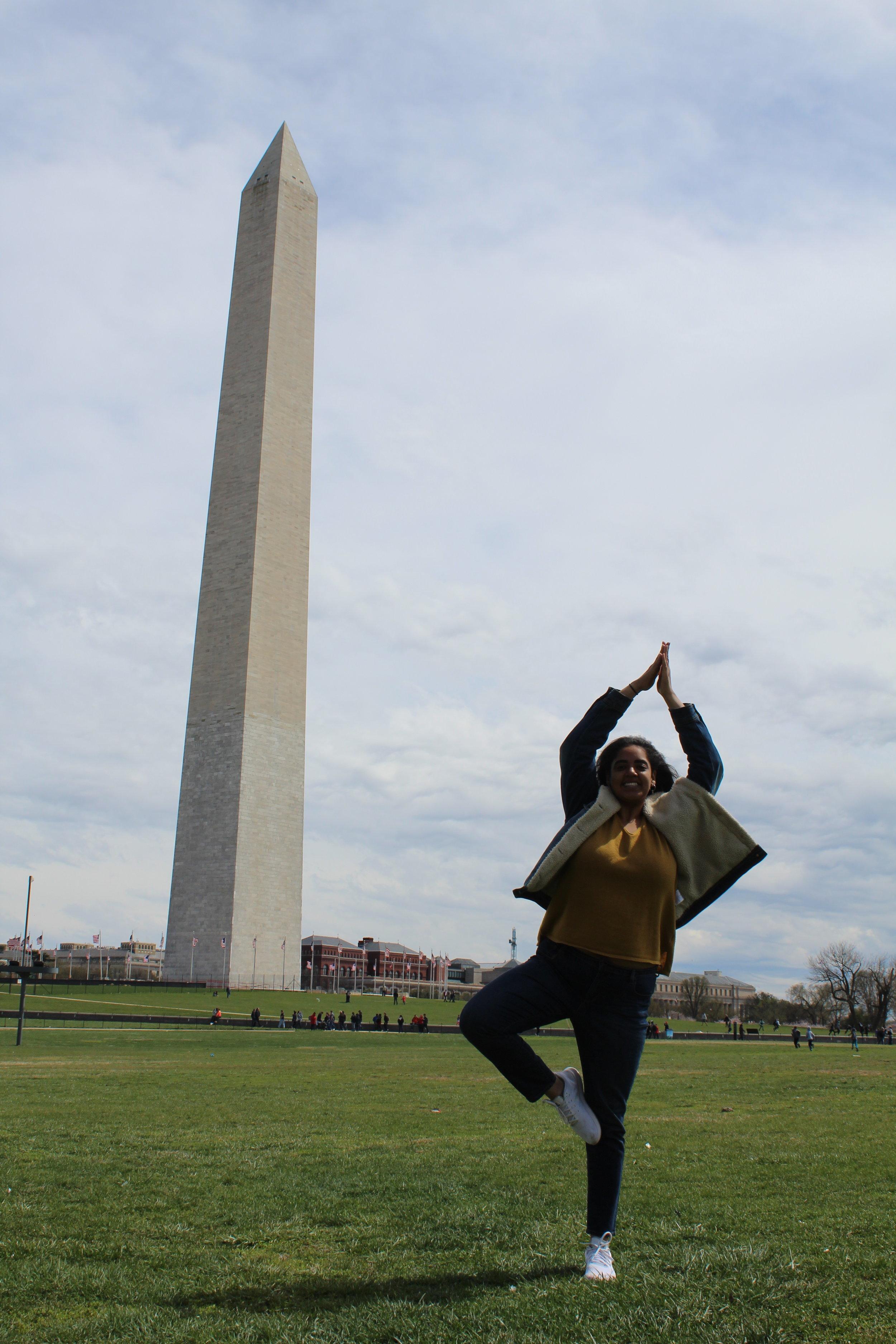 Doing my best imitation of the Washington Monument in Washington D.C.