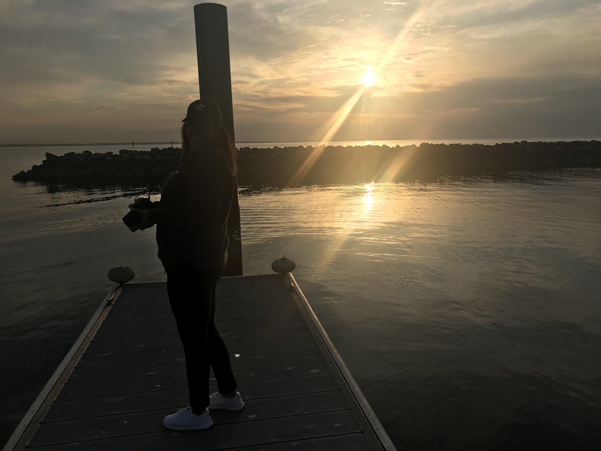Enjoying the sunset at a dock in Newport News, Virginia.