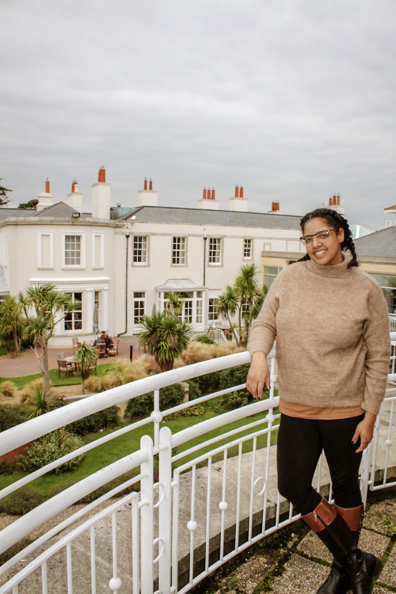 On the balcony of the Jameson Suite at the Portmarnock Hotel near Dublin. This was a previous home of the Jameson Family.