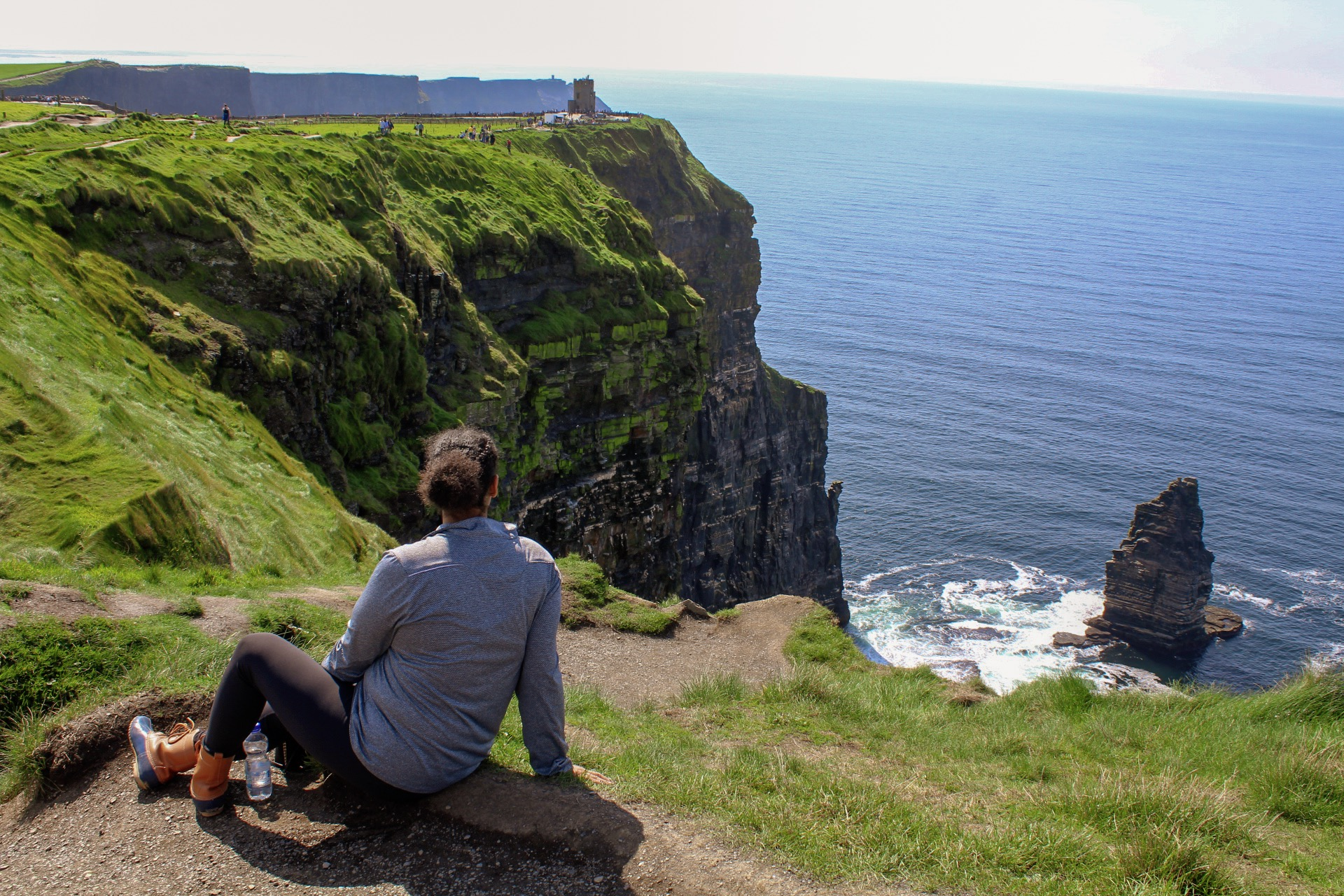 Sitting along the Cliffs of Moher