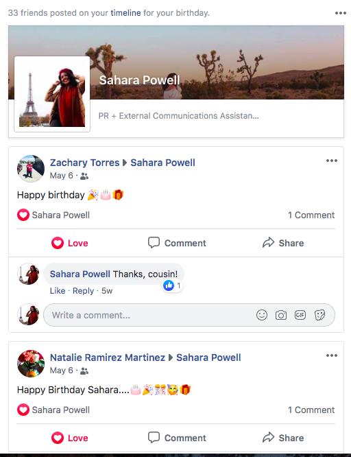 Facebook Birthday Trips