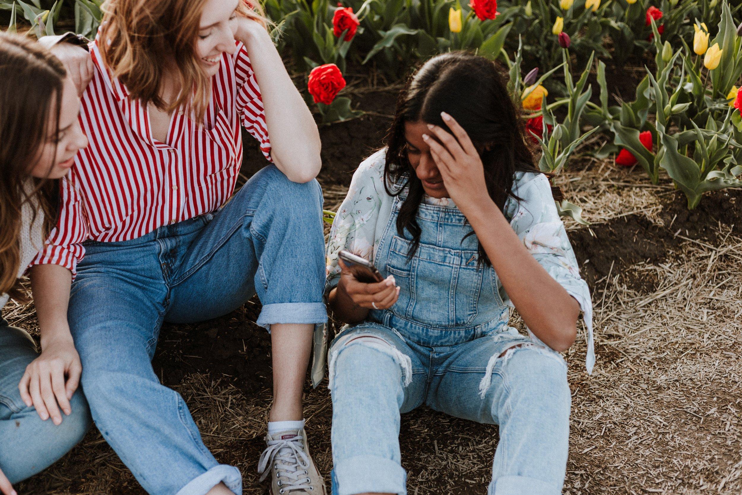Teenagers on their phone