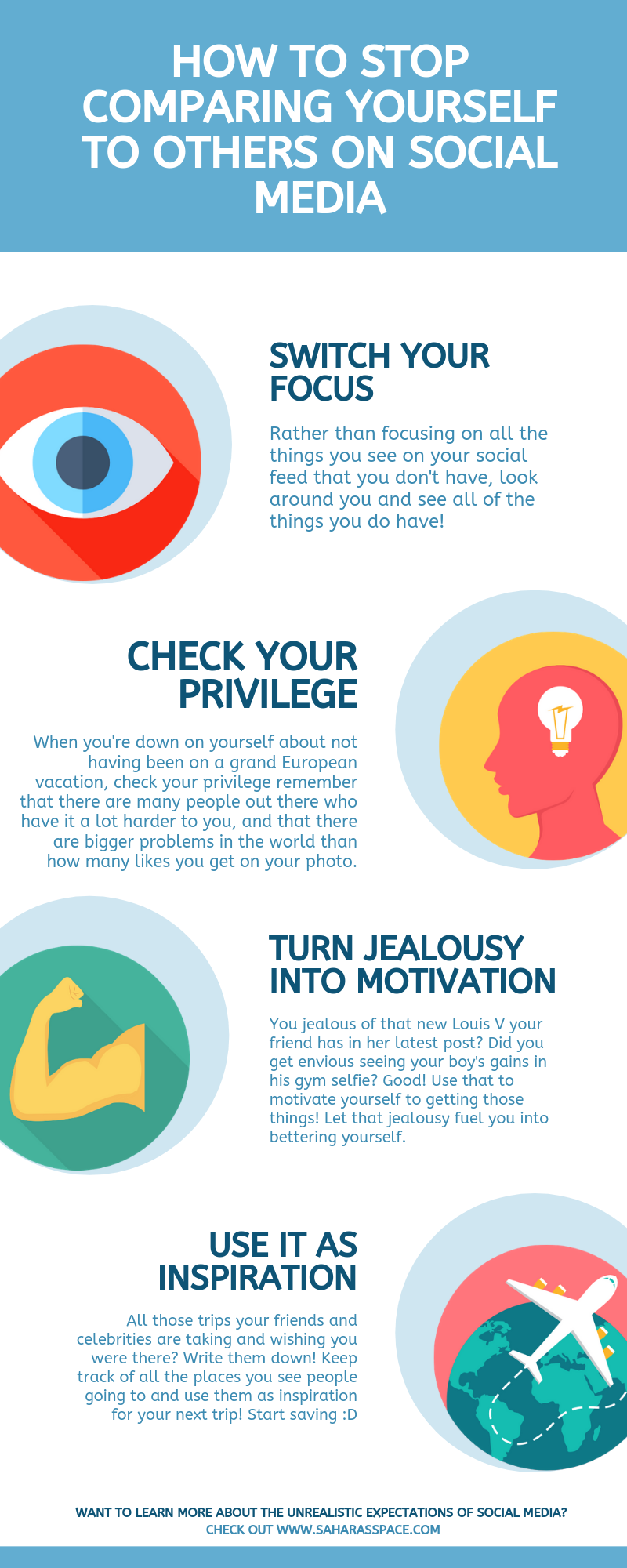 How to Stop Comparing Yourself on Social Media Infographic