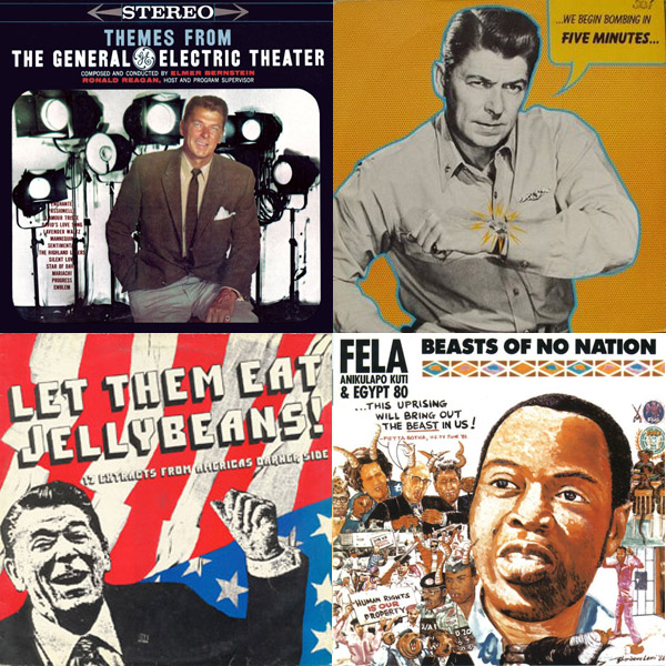 Ronald Reagan in Music - Although the presence of Ronald Reagan in music often draws associations to the punk rock counter-culture of the 1980s, it dates back much earlier. During the 1960s, folk, rock and satirical musicians jabbed at him for his red-baiting, attacks on free speech, and violent backlash against political dissent. He first appeared on album covers in the 1950s during his time as a Hollywood actor, well before his political career. Post-presidency (and post-Reagan altogether) he remains an icon and pariah for artists in many genres.Read article