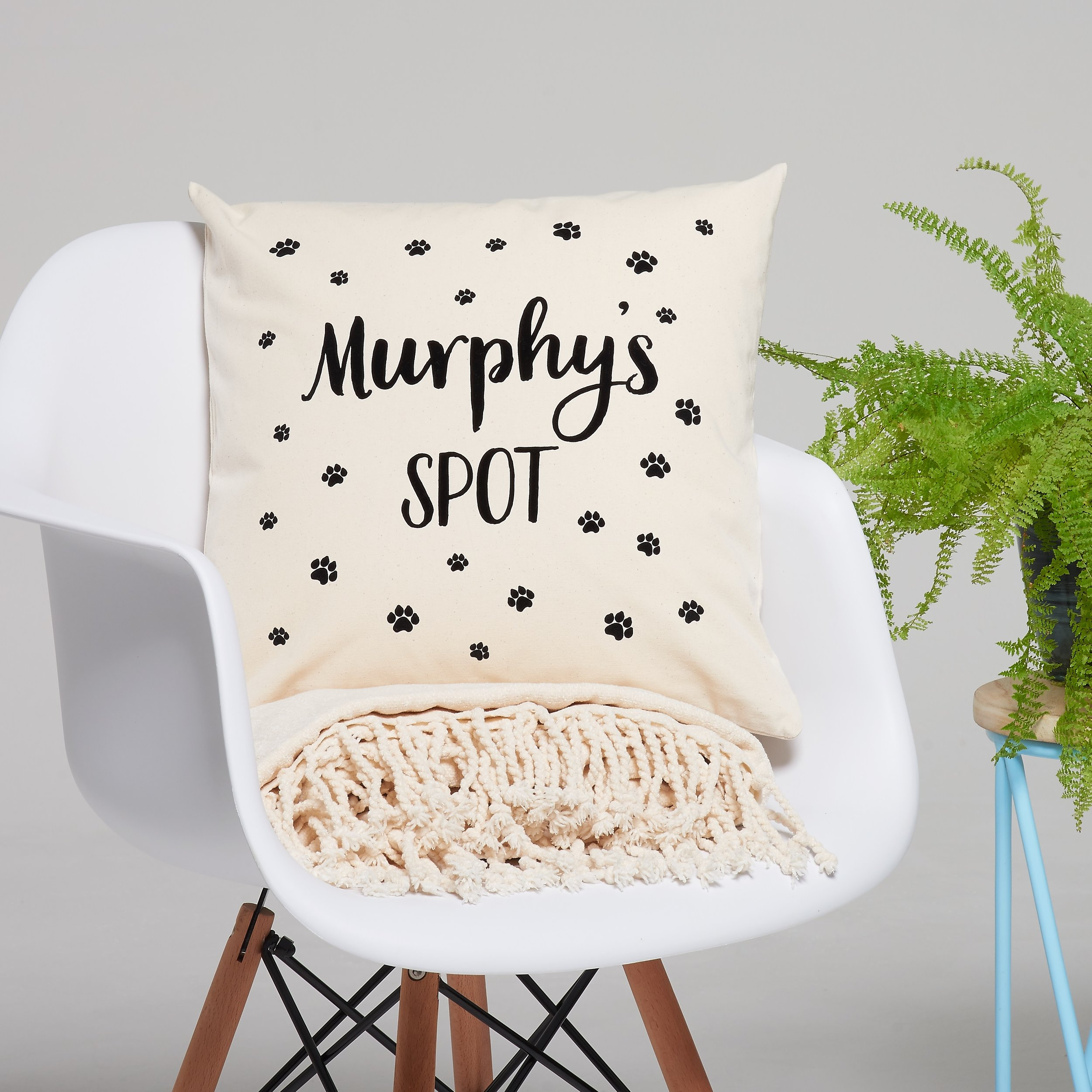 Personalised pet spot cushion, £30 by Owl & Otter