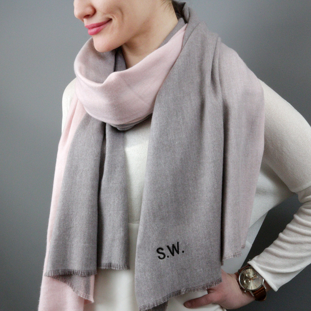 Personalised Cashmere Blend Ombre Scarf by Studio Hop - £30