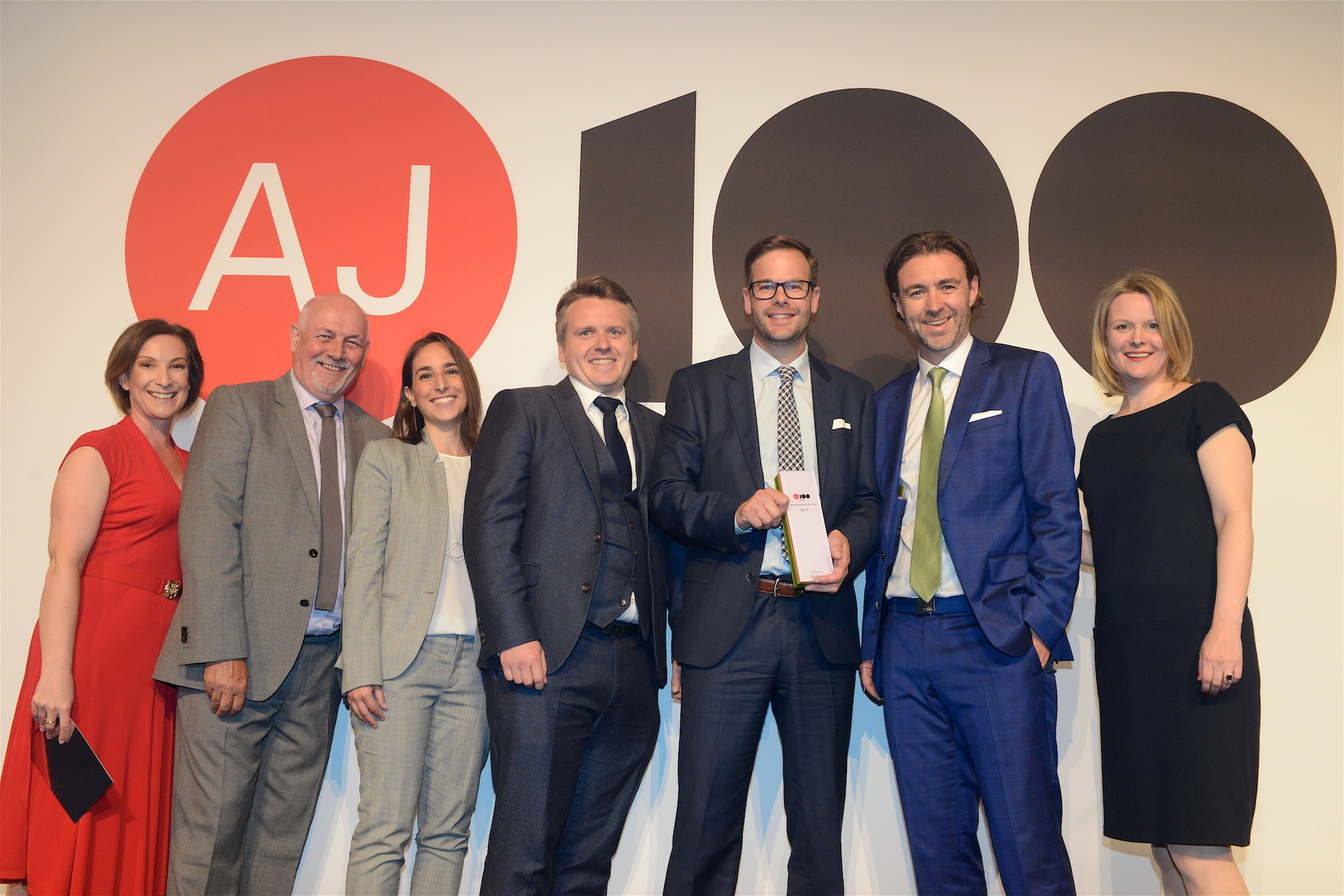 The 2018 AJ100 New Member of the Year Award is presented to rg+p. (L-R) Jayne Arkell of Equitone UK & Ireland, category sponsor; Melvyn King; Victoria Torres; Grant Giblett; Rob Woolston and James Badley (all rg+p) with Emily Booth, acting editor, Architect's Journal.