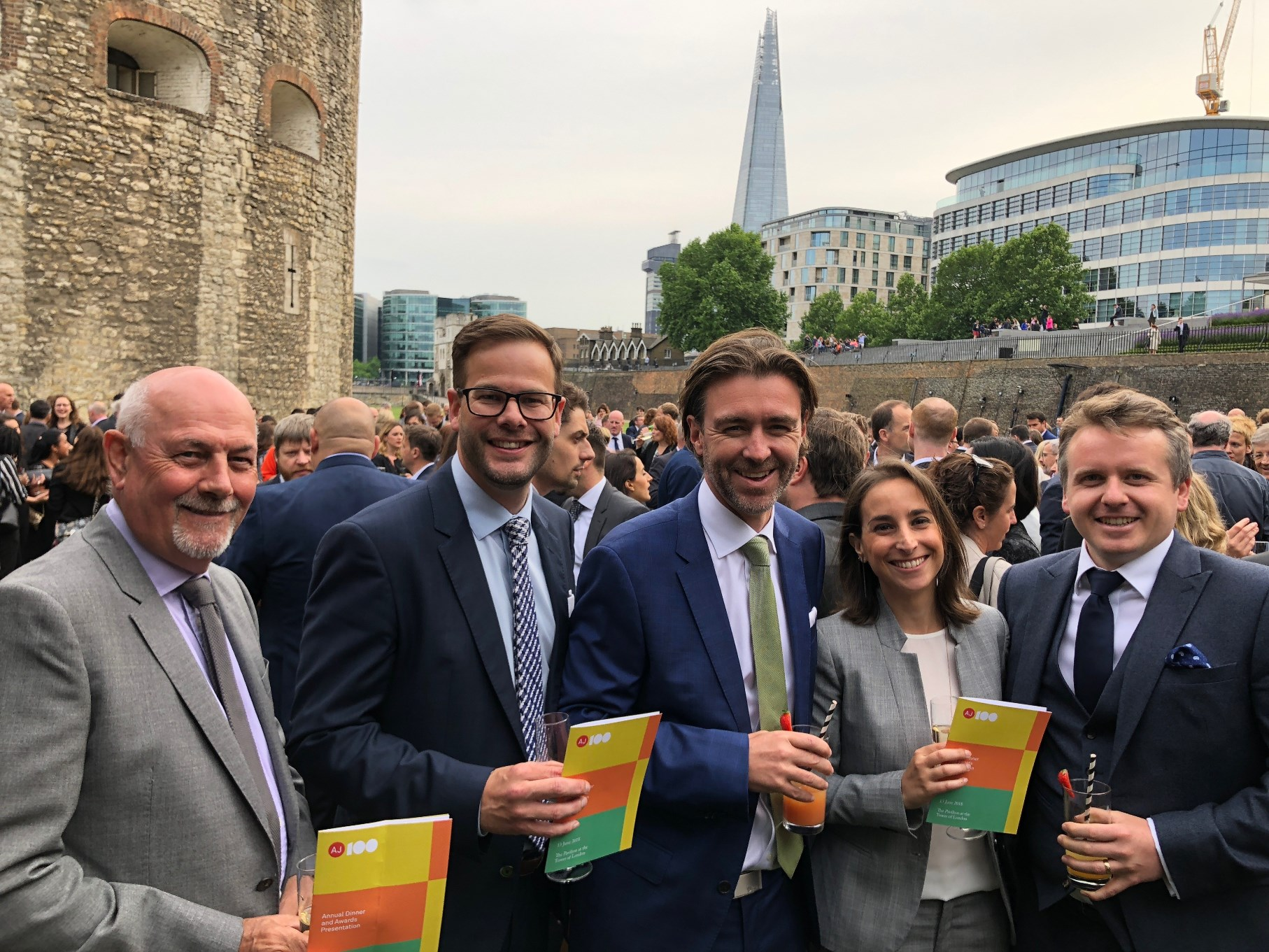 Team rg+p celebrate their New Member of the Year Award at the Tower of London (l-r) Melvyn King, Rob Woolston, James Badley, Victoria Torres and Grant Giblett.