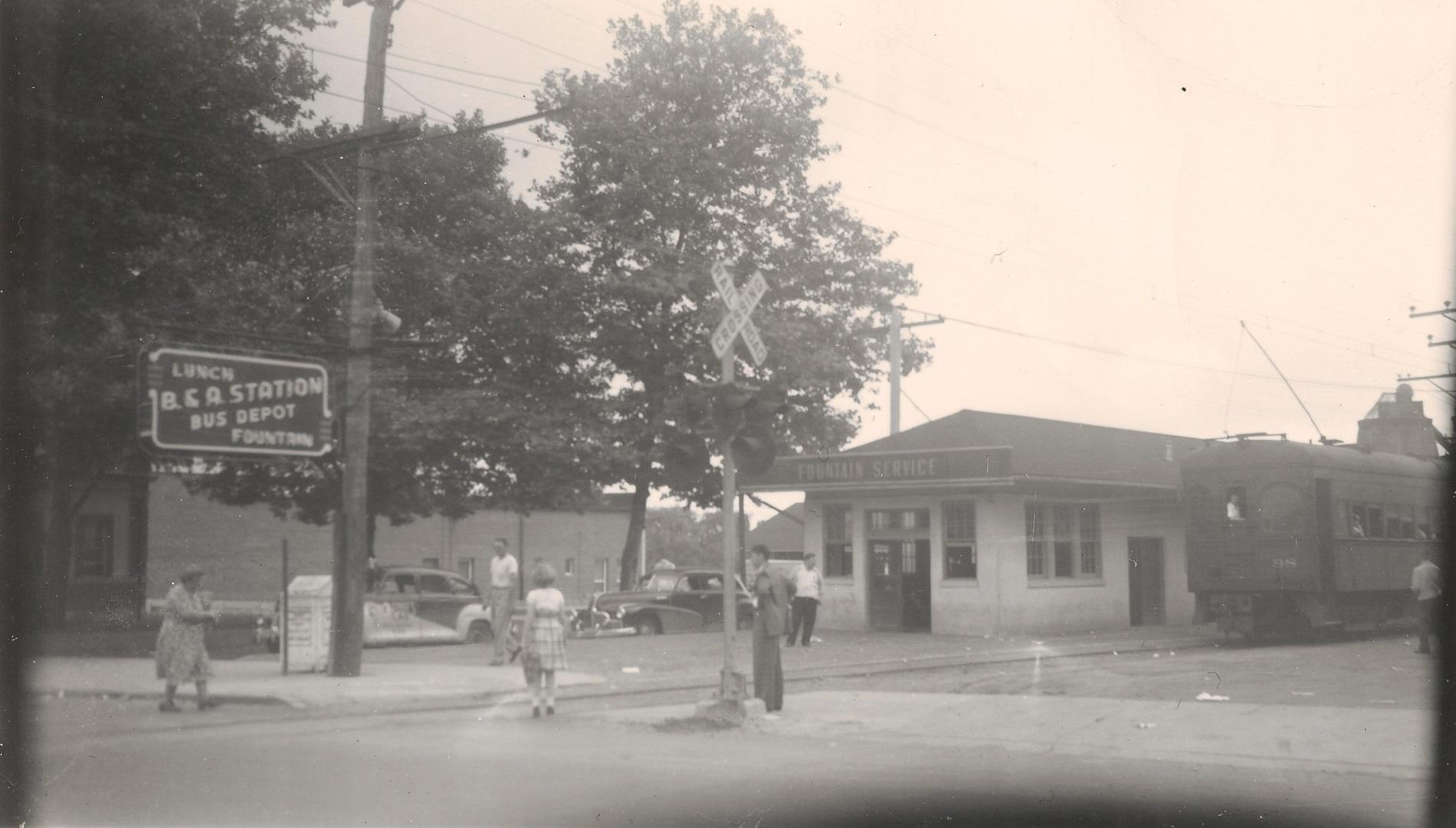 Baltimore & Annapolis Railroad Car #98 at Glen Burnie Station. Glen Burnie, Maryland Date: June 19, 1949. Source: Kevin Mueller Collection.