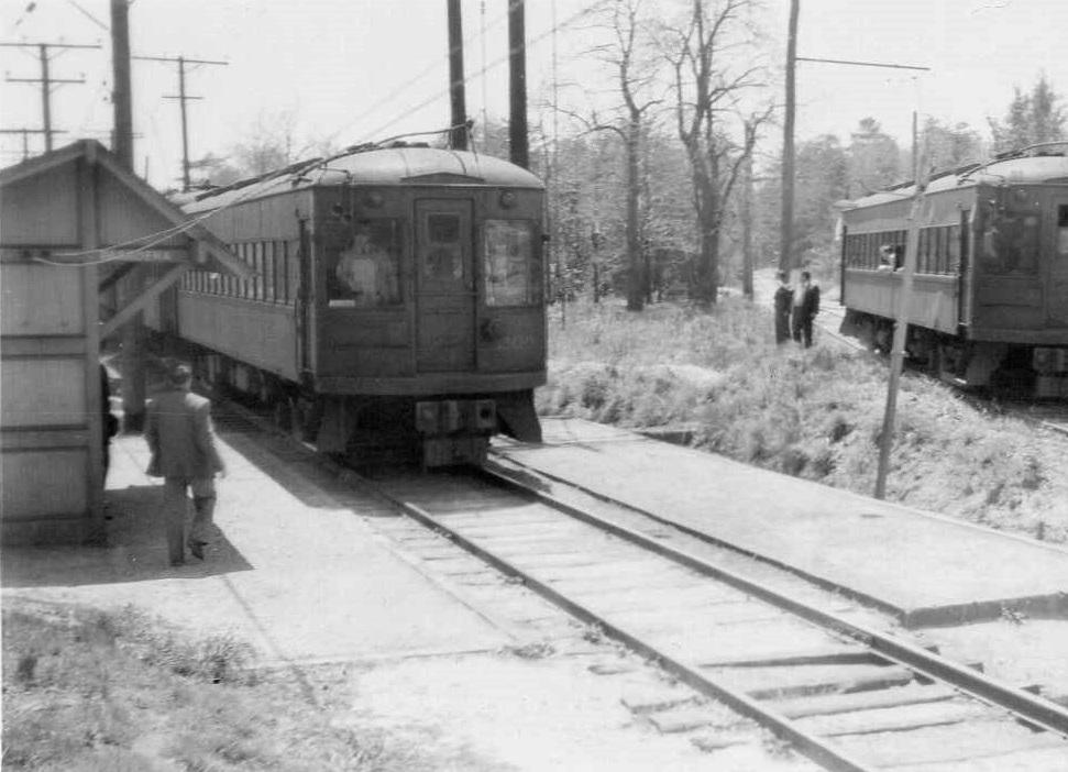 Baltimore & Annapolis Railroad Cars at Pasadena Station. Pasadena, Maryland Date: May 11, 1947. Source: Unknown.