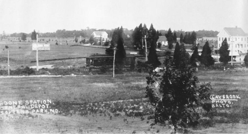 Baltimore & Annapolis Railroad, Boone Station. I believe the old station can be seen in the far right corner, on the north side of the tracks. I believe the road to the right of the station is Riggs Avenue. Severna Park, Maryland Date: Unknown. Source: Claybrook Photo Baltimore.