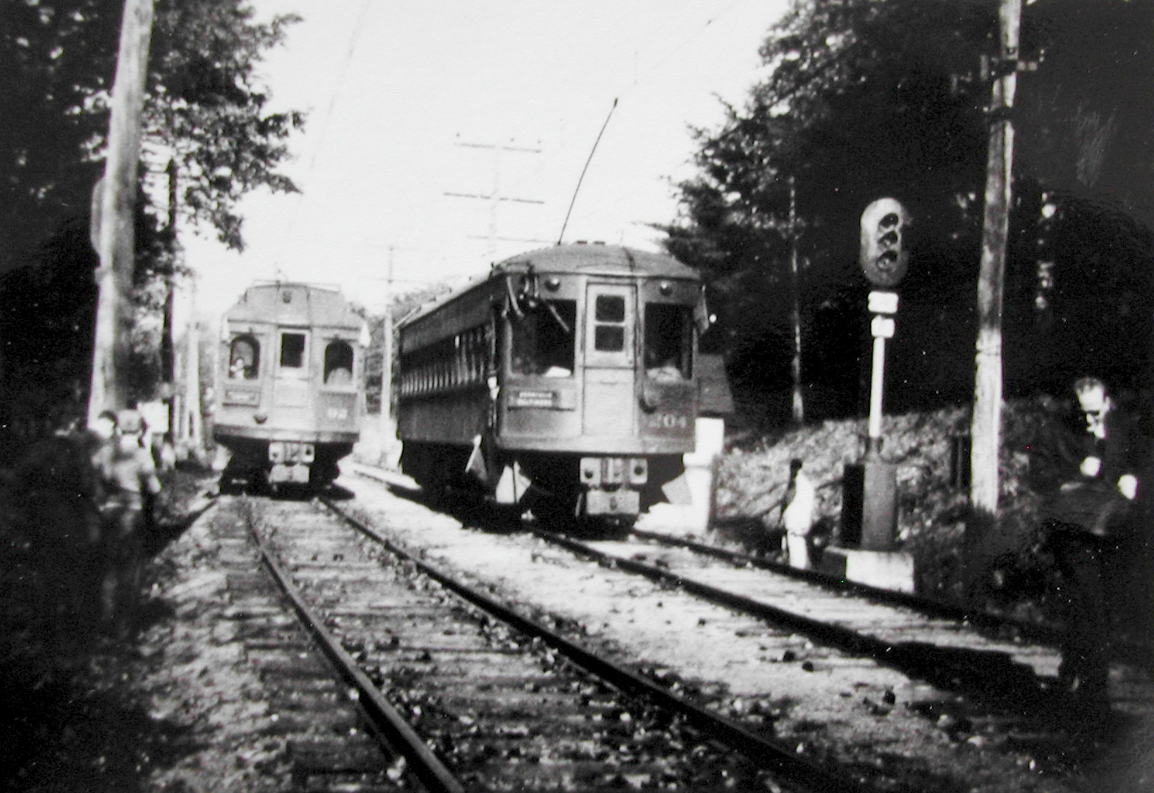 Baltimore & Annapolis Railroad Car #92 & Car #204 at Arnold Station. Arnold, Maryland Date: 1945. Source: Unkown.