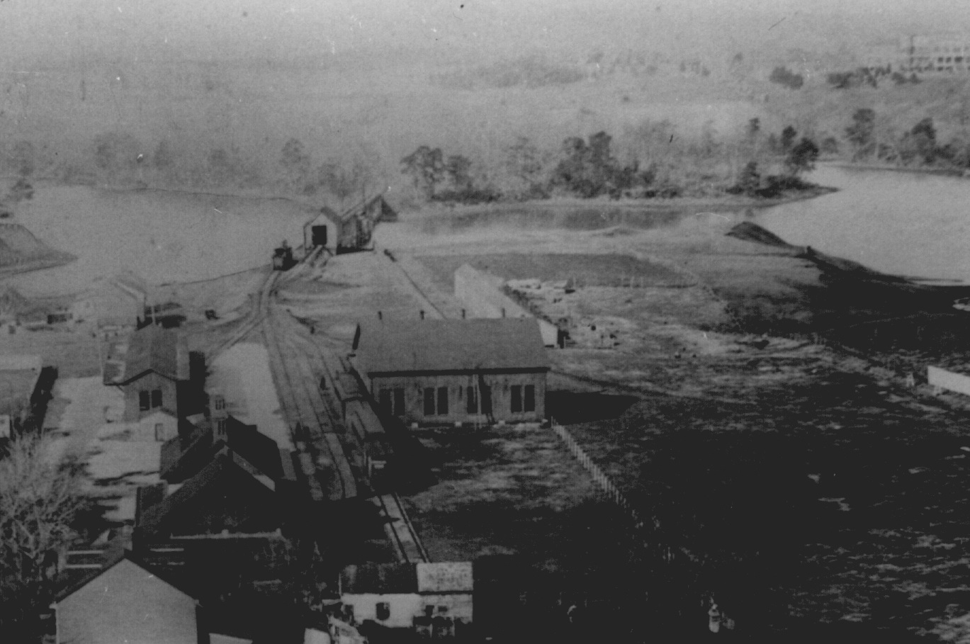 Looking down on Bladen Street Station from the Maryland State House. Annapolis, Maryland. Circa 1887. Source: Maryland State Archives.