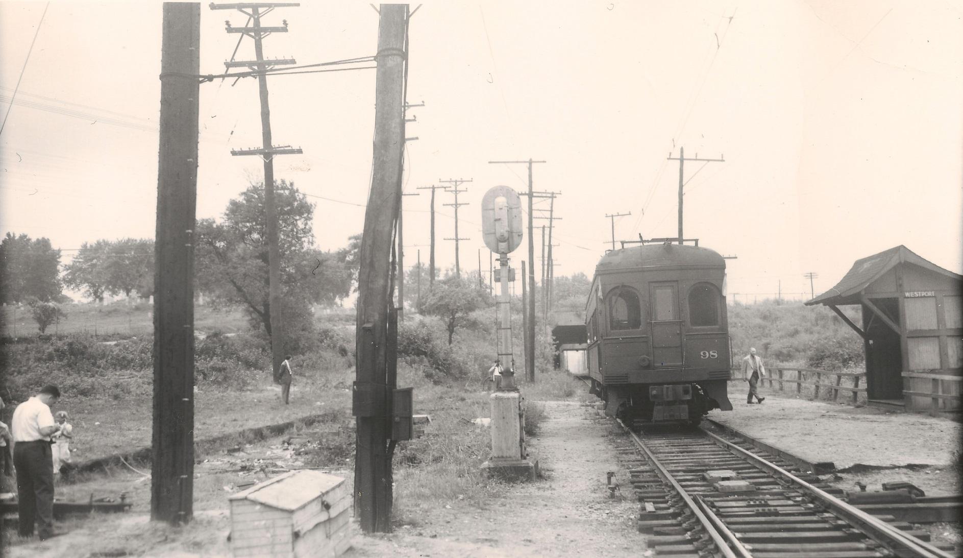 Baltimore & Annapolis Railroad Car #98 at Westport Station. Westport Station, Maryland Date: June 19, 1949. Source: Kevin Mueller Collection.