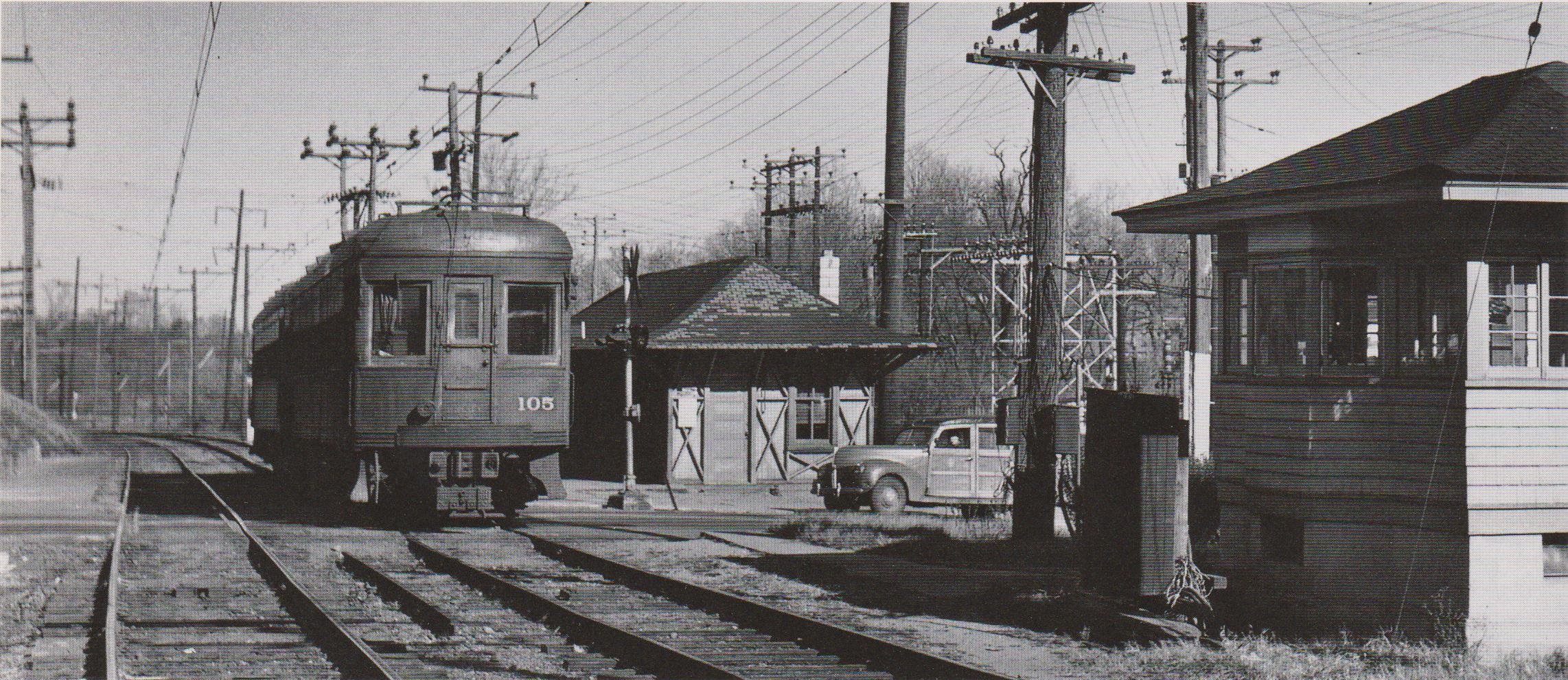 """Baltimore & Annapolis Car #105 at Linthicum Station. Linthicum, Maryland Date: November 1949. Source: W.D. Middleton from """"Baltimore Light Rail, Then & Now"""" by Herbert H. Harwood Jr."""